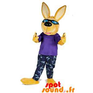 Gul hund maskot med solbriller