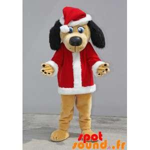 Beige och svart hundmaskot klädd som jultomten - Spotsound