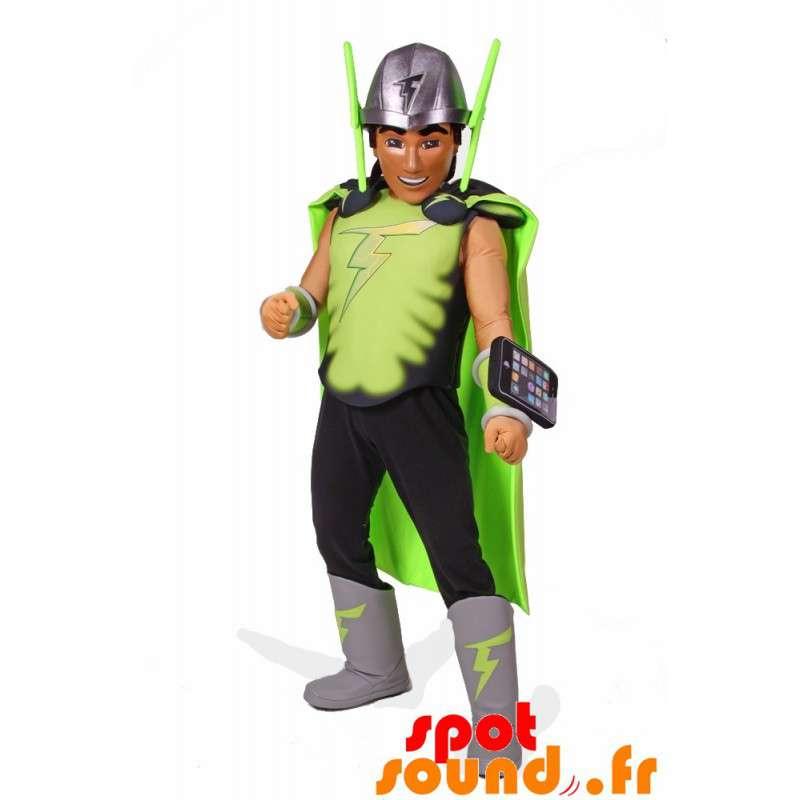 Mascotte de super héros avec un costume et un téléphone portable