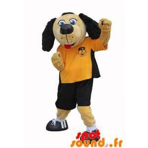 Beige og sort hundemaskot i fodboldtøj - Spotsound maskot