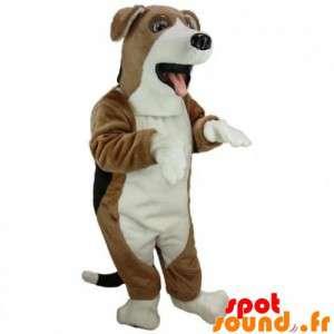 Hund maskot brun, hvit og...