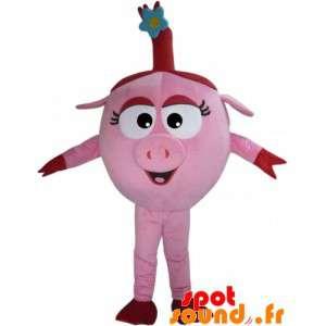 Mascotte de cochon rose et...