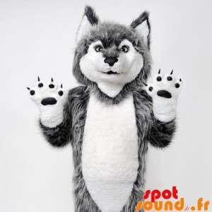 Grå og hvid ulvemaskot. Ulvhund maskot - Spotsound maskot