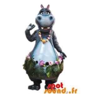 Maskot grå hippo med en...