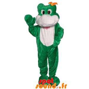 La mascota de la rana verde y blanco. traje de rana