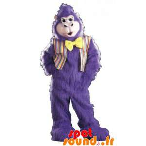 Purple Gorilla Mascot, Very Hairy With A Bow Tie
