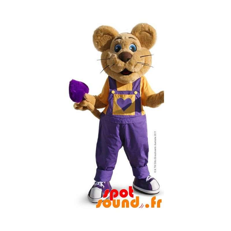les ventes chaudes 98c37 ac54c Mascotte de souris marron avec une salopette violette