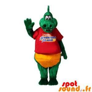 Mascotte coccodrillo verde e giallo dolce e divertente