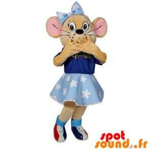 Mascota de color beige ratón con un vestido azul y un nodo