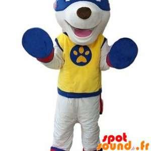 White Dog Mascot supereroe...