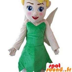 Mascotte de fée avec une robe verte. Fée clochette