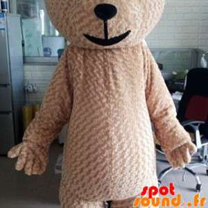 Stor beige nallebjörnmaskot, mjuk och söt - Spotsound maskot