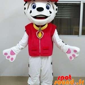 Dalmatian maskot kledd i brannmann
