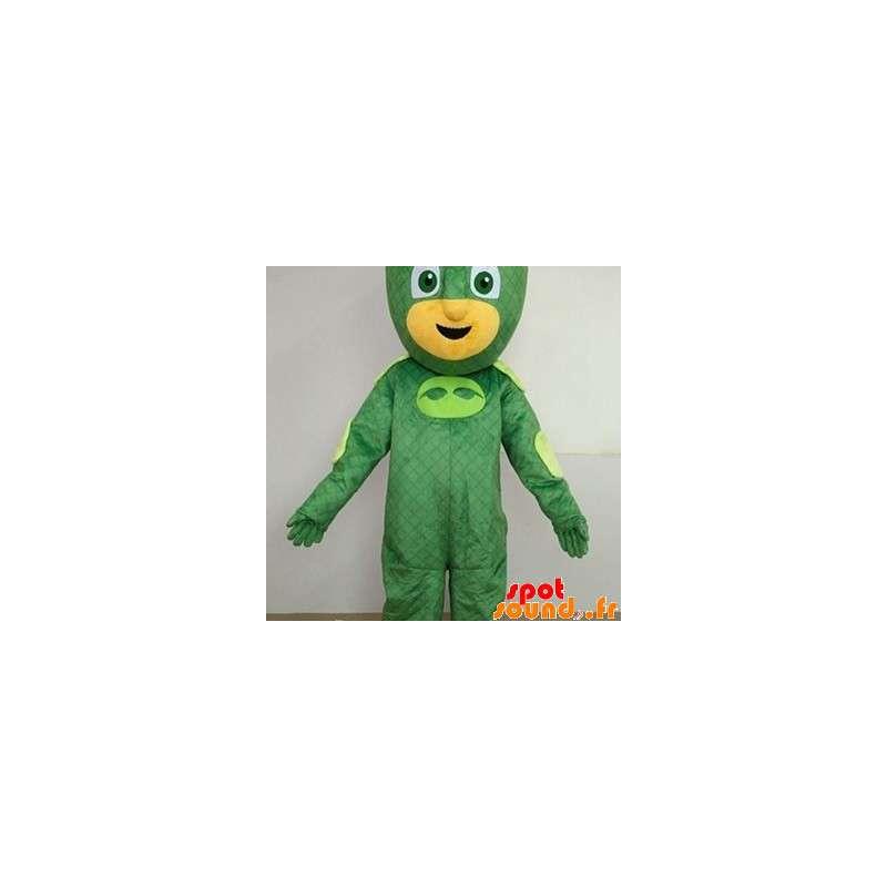 Carácter amarillo traje de la mascota de superhéroes