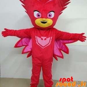 Sněhulák maskot maskovaný červená, superhrdina