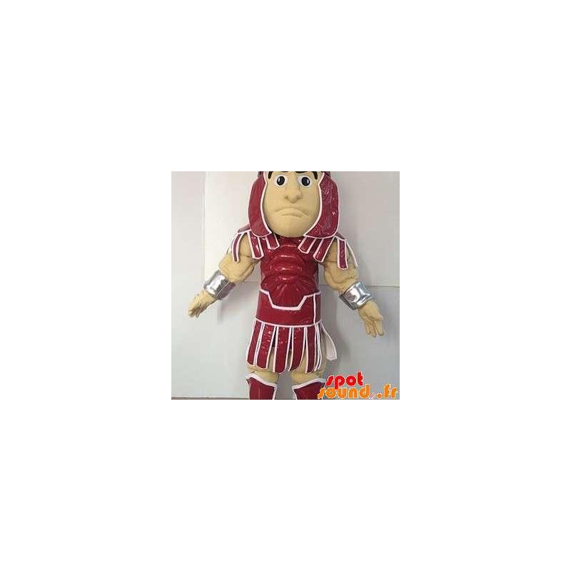 Gladiator mascotte vestita con un abito rosso