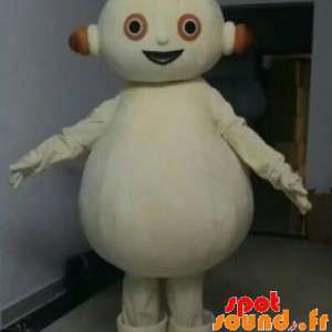 Bianco pupazzo di neve della mascotte, paffuto. Bianco robot mascotte
