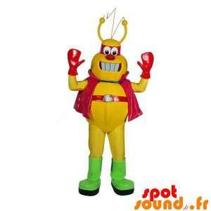 Geel robot mascotte en rode plezier
