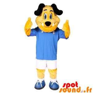 Mascotte de chien jaune et...