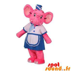 Mascot rosa Elefanten holding Stewardess