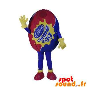 Mascot Red And Blue Giant Egg. Egg Costume