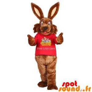 Mascote coelho marrom, doce...