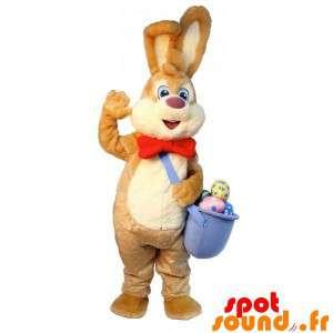 Brun og hvid påskeharen maskot med æg - Spotsound maskot