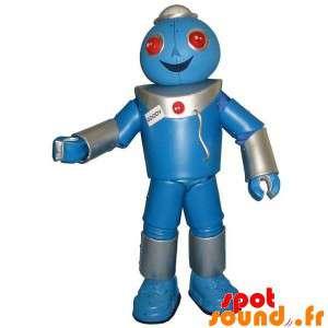 Giant Robot maskotti, harmaa ja sininen. Robot Suit