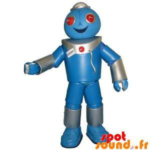 Mascotte de robot géant, gris et bleu. Costume de robot
