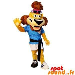 Sports leeuw mascotte geel...