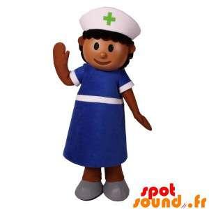 Sygeplejerske maskot, sygeplejerske klædt i blåt - Spotsound