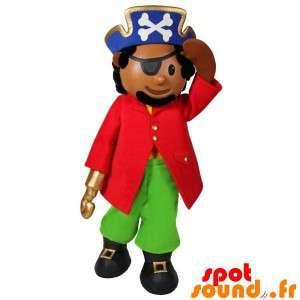 Piratmaskot, kaptajn med hat og øjenlap - Spotsound maskot
