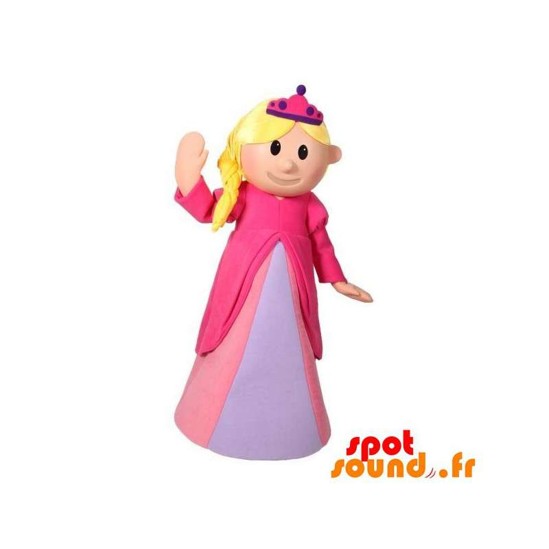 Blond Princess Mascot Dressed In A Pink Dress