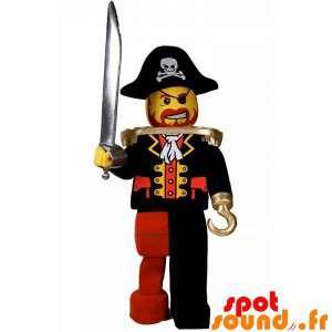 Lego maskot klædt ud som en pirat med en hat - Spotsound maskot