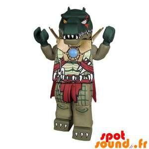 Mascot Lego, heel eng groene krokodil