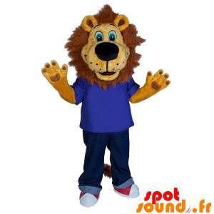 Mascotte leone marrone con...