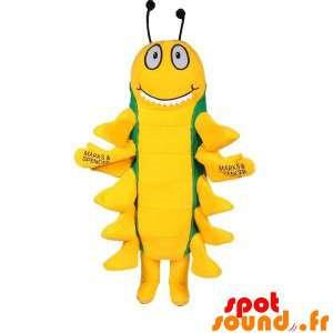 Insektmaskot, grøn og gul tusindben - Spotsound maskot