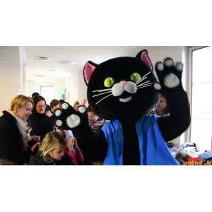 Zwarte kat mascotte gekleed...