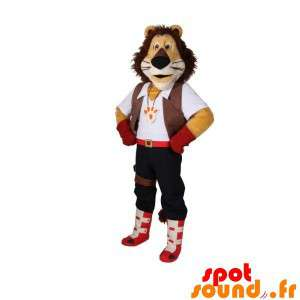 Tricolor Lion Mascot With...