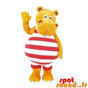 Geel nijlpaard mascotte met...