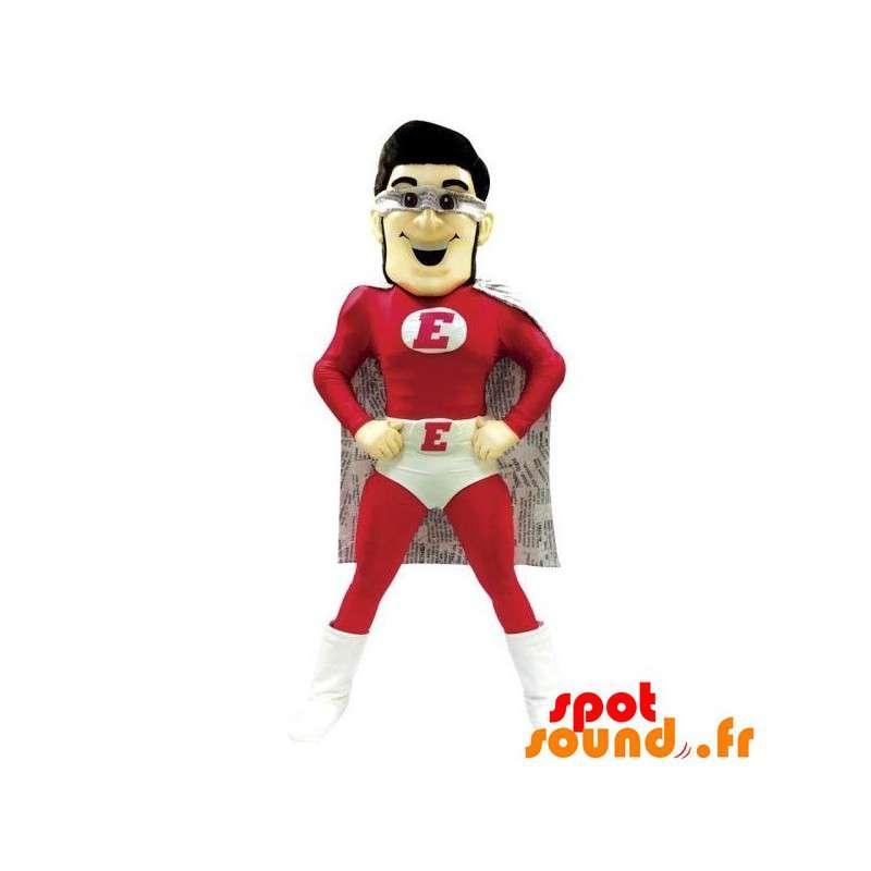 Mascote super-herói vestido de vermelho e branco