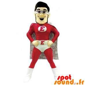Mascotte de super-héros habillé en rouge et blanc