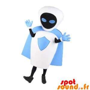 Mascot hvit robot, svart og blått med en kappe