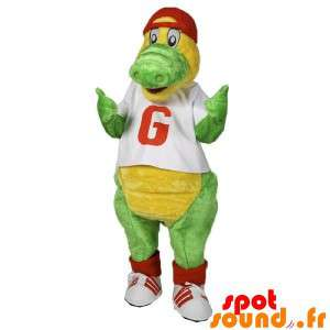 Green And Yellow Crocodile Mascot Dressed In Red And White