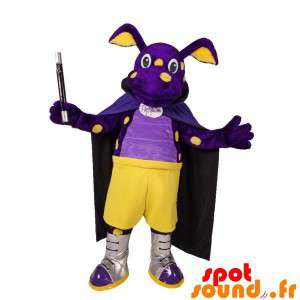 Draak mascotte, violet en...