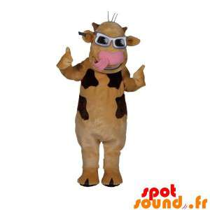 Beige And Brown Cow Mascot...