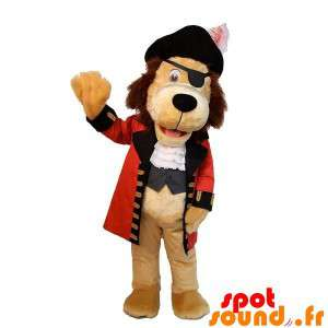 Beige hond mascotte gekleed...