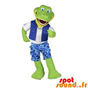 Groene krokodil Mascot Explorer gehouden