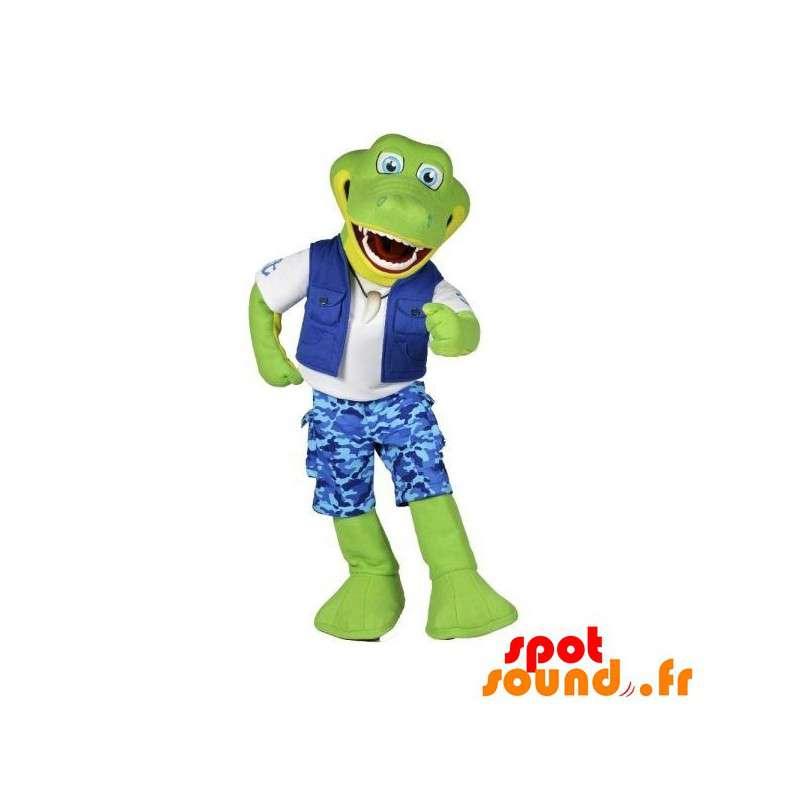 Green Crocodile Mascot Explorer Held