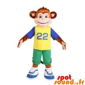 Brown Monkey Mascot Dressed...